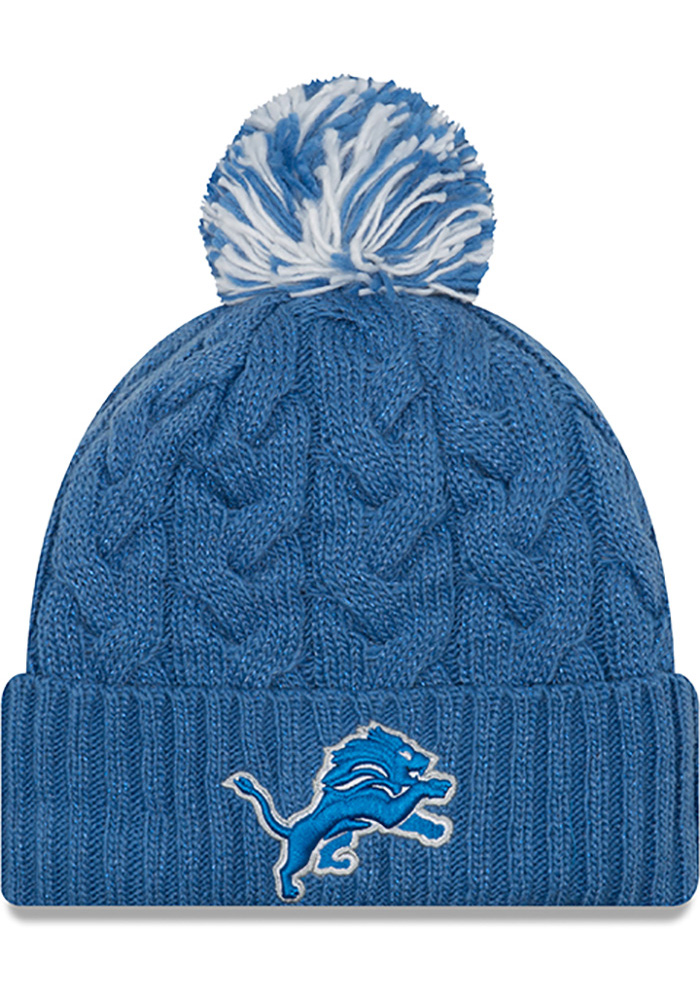 New Era Detroit Lions Blue Cozy Cable Womens Knit Hat - Image 1