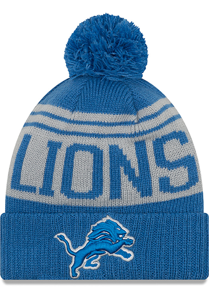 New Era Detroit Lions Blue Team Pride Pom Mens Knit Hat - Image 1