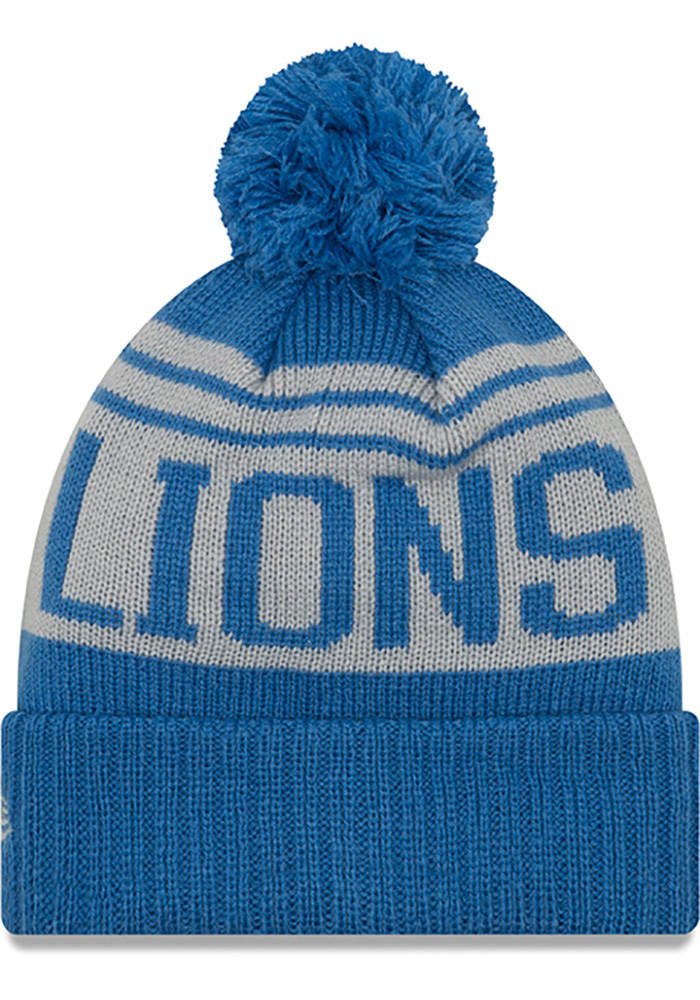 New Era Detroit Lions Blue Team Pride Pom Mens Knit Hat - Image 2