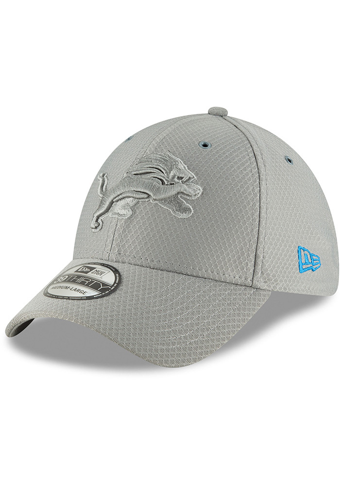 New Era Detroit Lions Mens Grey NFL18 Official Color Rush 39THIRTY Flex Hat  - Image 1 b2730f1ee
