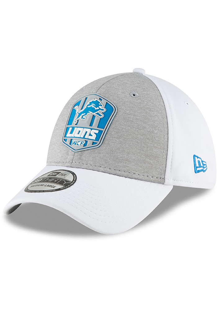 New Era Detroit Lions White NFL18 Official Sideline Road 39THIRTY Flex Hat 7a90376ed