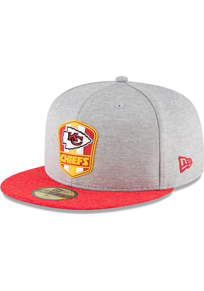 Kansas City Chiefs New Era Grey NFL18 Official Sideline Road 59FIFTY Fitted  Hat 940660fdf