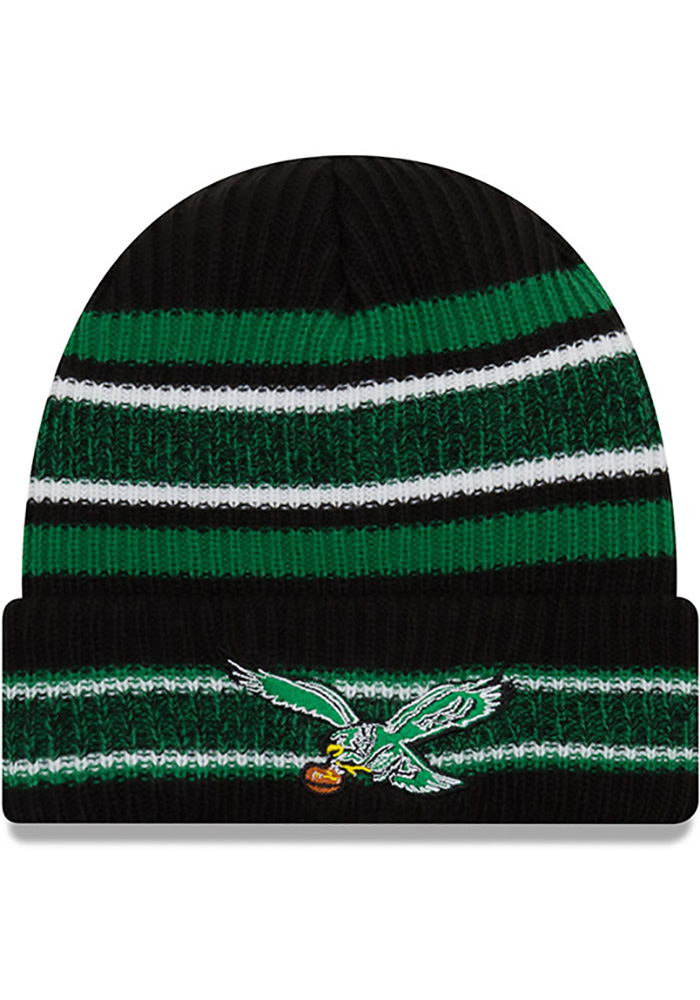 New Era Philadelphia Eagles Black Retro Vintage Stripe Mens Knit Hat - Image 1