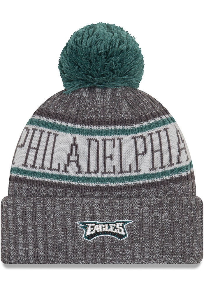 New Era Philadelphia Eagles Grey NFL18 Sport Mens Knit Hat - Image 2