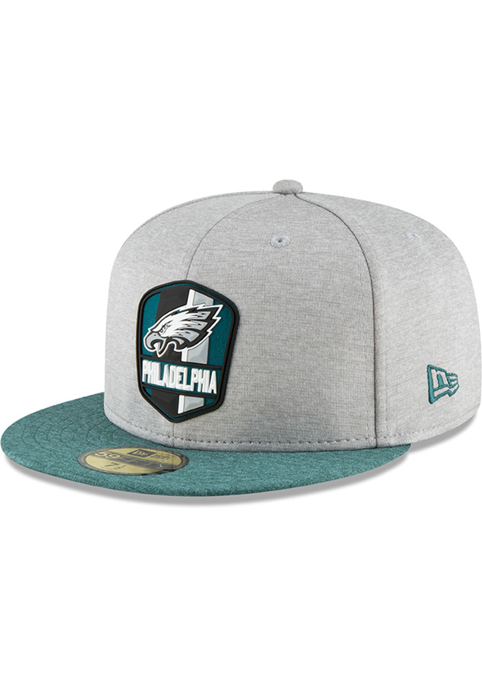 f15cc1a5e9096 Philadelphia Eagles New Era Grey NFL18 Official Sideline Road 59FIFTY  Fitted Hat