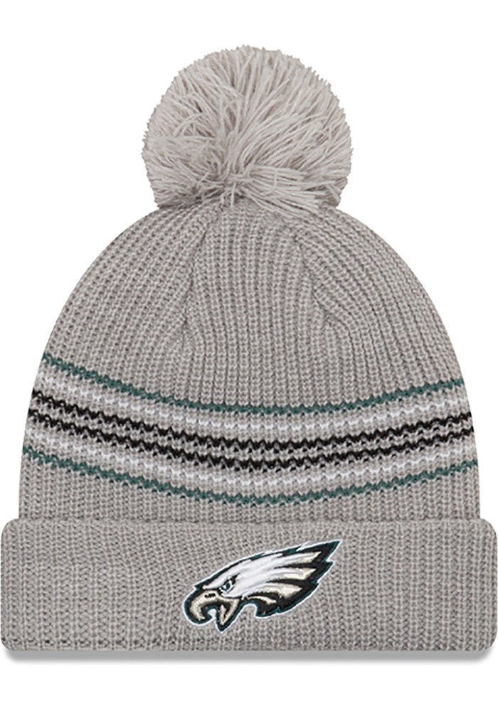 New Era Philadelphia Eagles Grey Snowy Stripe Womens Knit Hat - Image 1