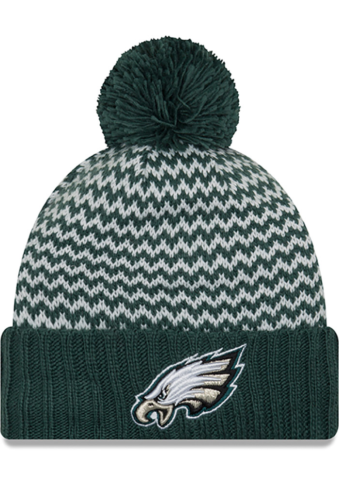 New Era Philadelphia Eagles Womens Green Patterned Pom Knit Hat 05a9306c7bd9
