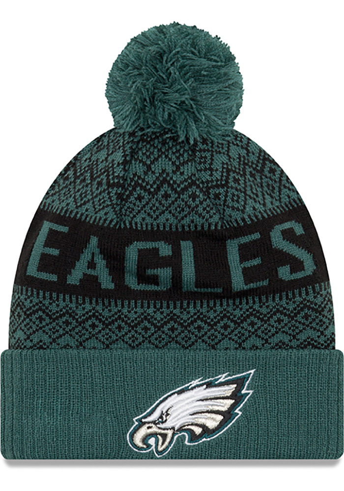 New Era Philadelphia Eagles Green Wintry Pom 3 Mens Knit Hat - Image 1