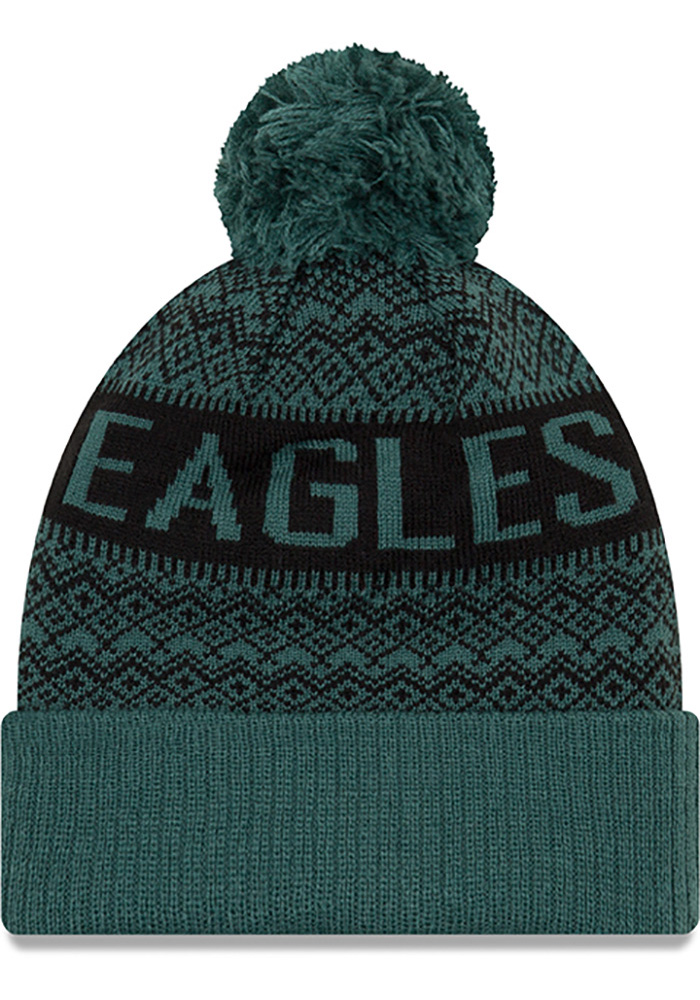 New Era Philadelphia Eagles Green Wintry Pom 3 Mens Knit Hat - Image 2