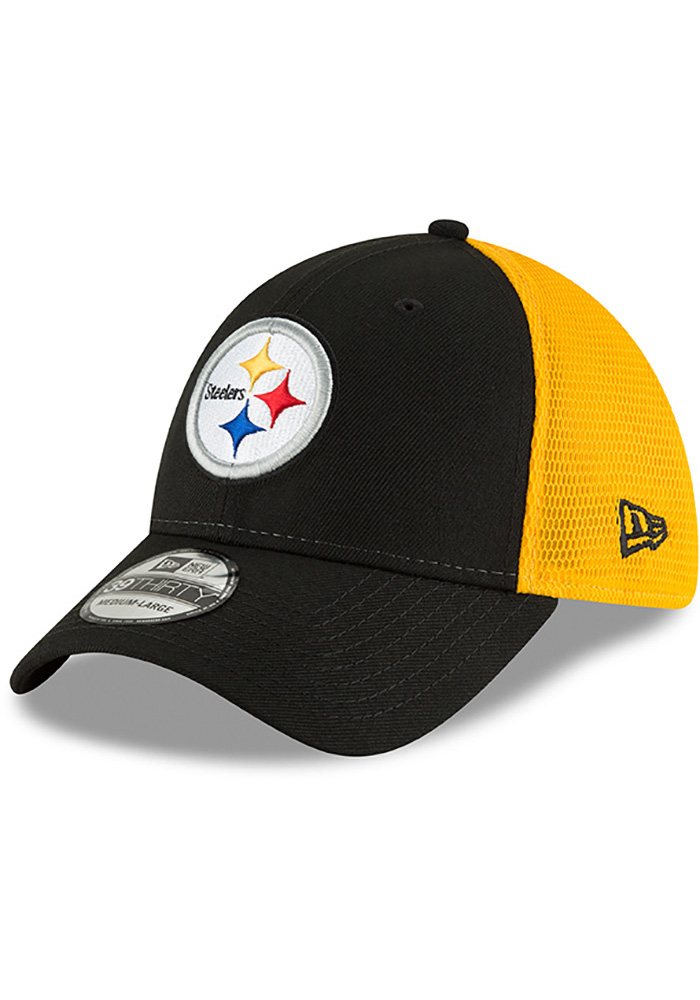 ed5cd57a New Era Pittsburgh Steelers Black 2T Sided Jr 39THIRTY Youth Flex Hat