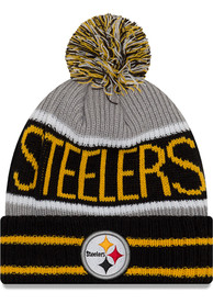 5ef21cd8171450 New Era Pittsburgh Steelers Black Banner Block Knit Hat