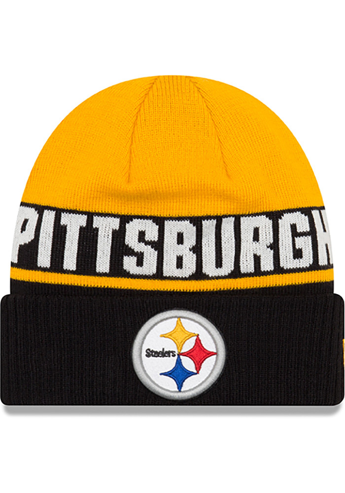 New Era Pittsburgh Steelers Black Chilled Cuff Youth Knit Hat - Image 1