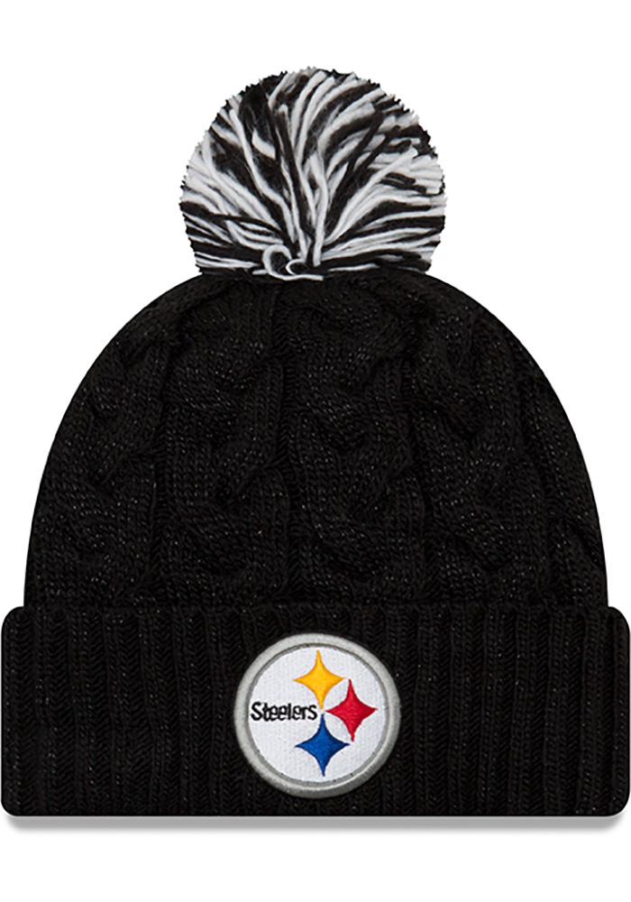 New Era Pittsburgh Steelers Black Cozy Cable Womens Knit Hat - Image 1