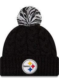 New Era Pittsburgh Steelers Womens Black Cozy Cable Knit Hat