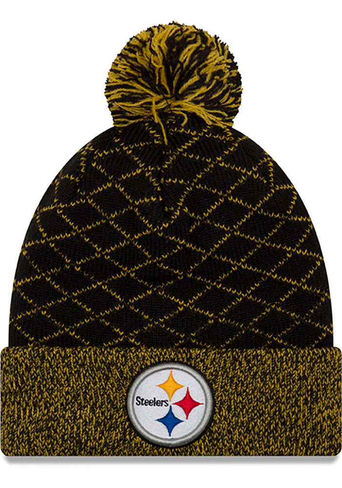 New Era Pittsburgh Steelers Black Criss Cross Cuff Womens Knit Hat - Image 1
