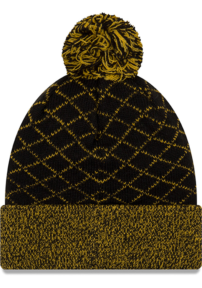 New Era Pittsburgh Steelers Black Criss Cross Cuff Womens Knit Hat - Image 2