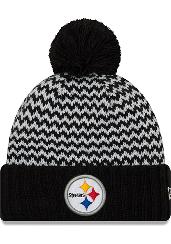 New Era Pittsburgh Steelers Black Patterned Pom Womens Knit Hat - Image 1