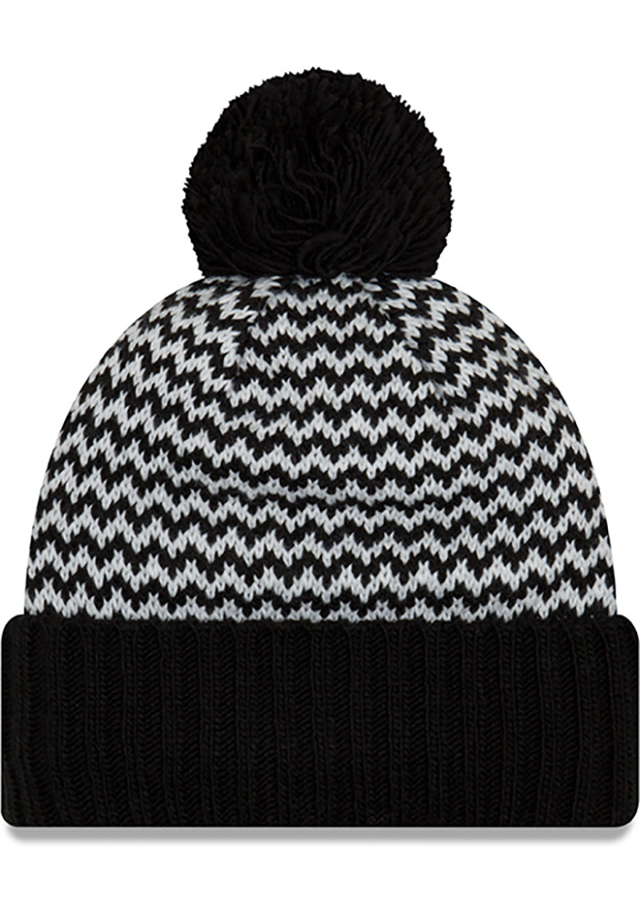 New Era Pittsburgh Steelers Black Patterned Pom Womens Knit Hat - Image 2