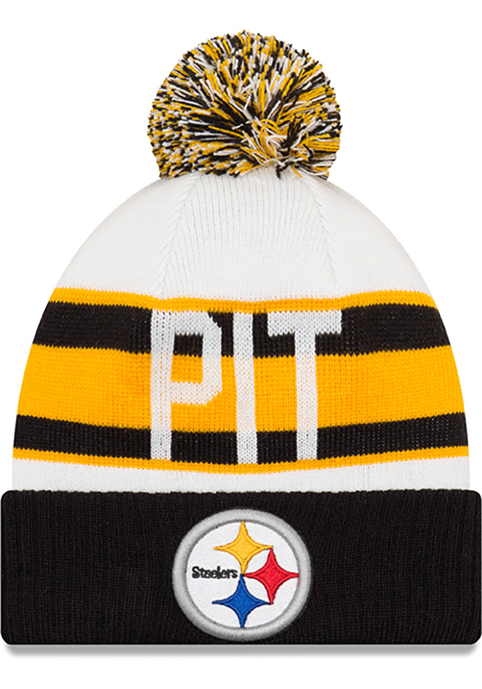 New Era Pittsburgh Steelers Black Retro Cuff Mens Knit Hat - Image 1