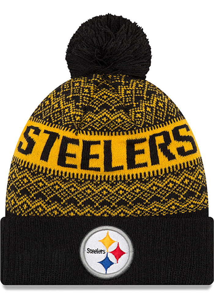 New Era Pittsburgh Steelers Black Wintry Pom 3 Mens Knit Hat - Image 1