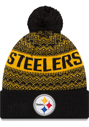 2f144a921ae New Era Pittsburgh Steelers Black Wintry Pom 3 Knit Hat