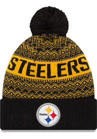 60dc4bec1584ae New Era Pittsburgh Steelers Black Wintry Pom 3 Knit Hat