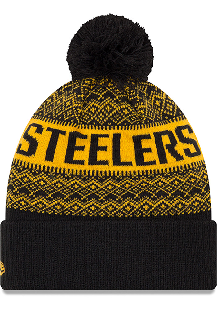 New Era Pittsburgh Steelers Black Wintry Pom 3 Mens Knit Hat - Image 2