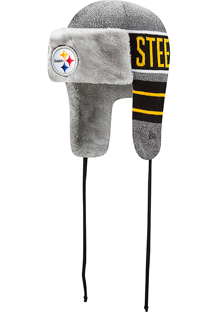 New Era Pittsburgh Steelers Grey Frosty Trapper Mens Knit Hat - Image 1