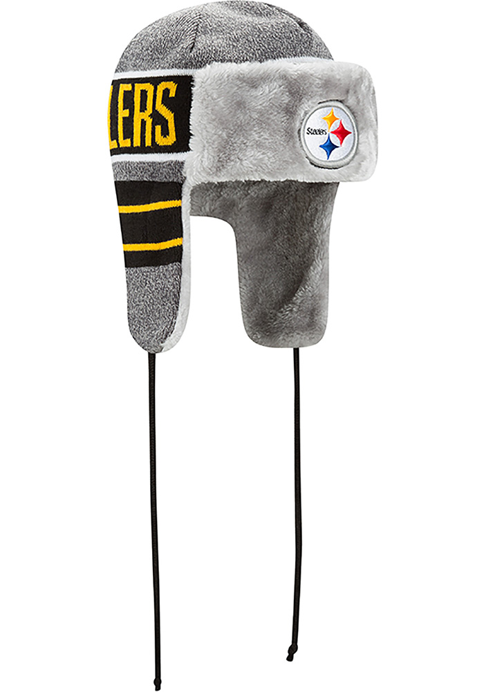 New Era Pittsburgh Steelers Grey Frosty Trapper Mens Knit Hat - Image 2