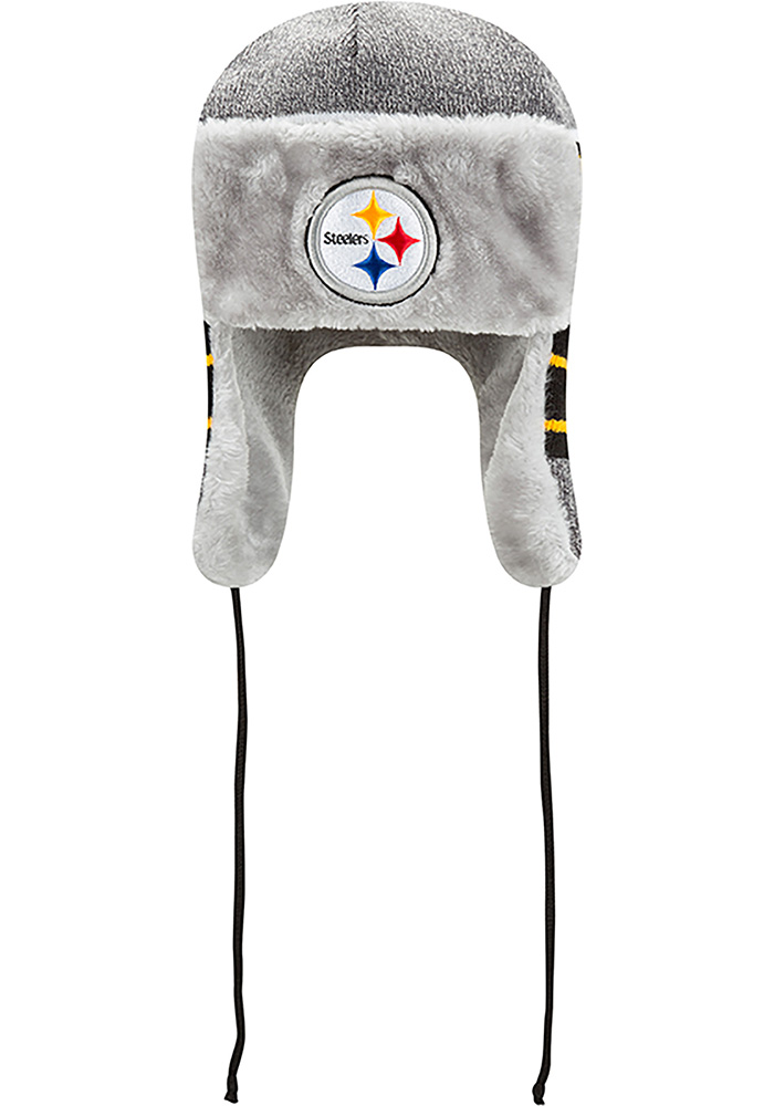 New Era Pittsburgh Steelers Grey Frosty Trapper Mens Knit Hat - Image 3