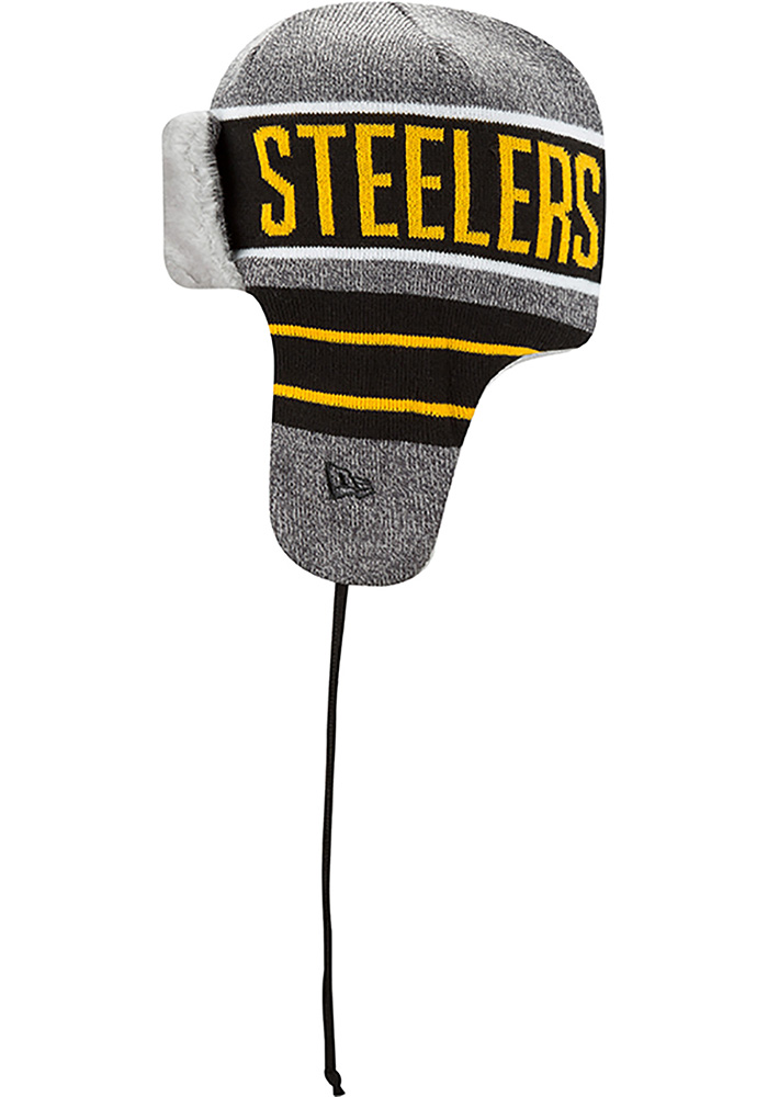 New Era Pittsburgh Steelers Grey Frosty Trapper Mens Knit Hat - Image 4