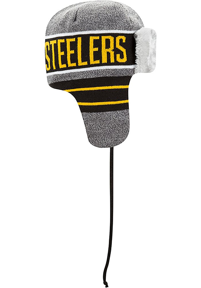 New Era Pittsburgh Steelers Grey Frosty Trapper Mens Knit Hat - Image 6