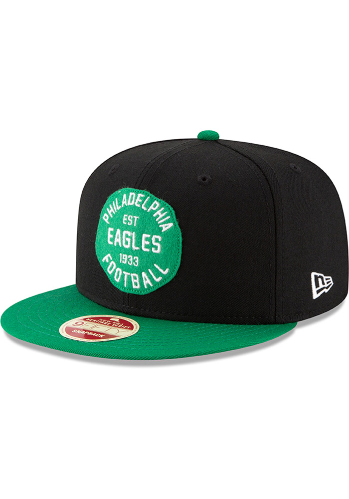 0cdf28a41c7 New Era Philadelphia Eagles Black Double Patched 9FIFTY Mens Snapback Hat -  Image 1