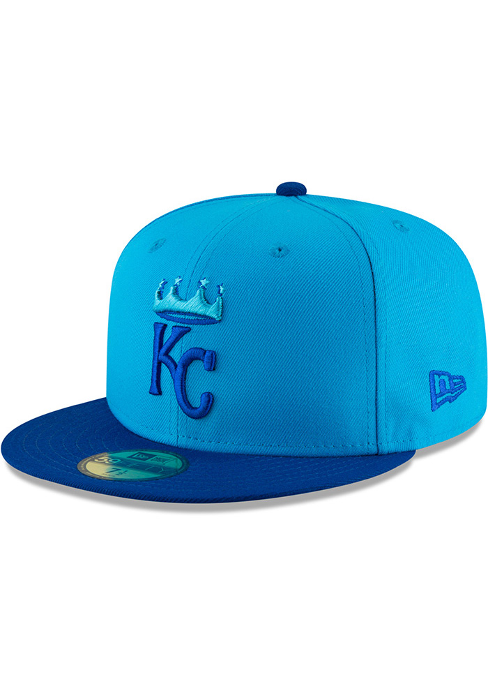 New Era Kansas City Royals Mens Blue 18 Players Weekend 59FIFTY Fitted Hat - Image 1