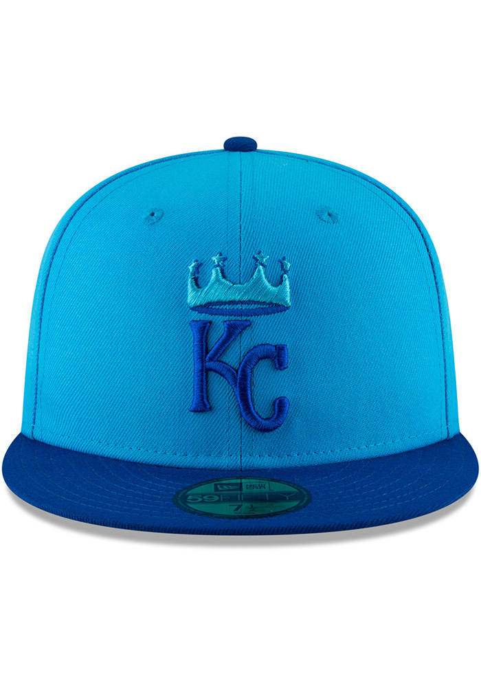 New Era Kansas City Royals Mens Blue 18 Players Weekend 59FIFTY Fitted Hat - Image 3