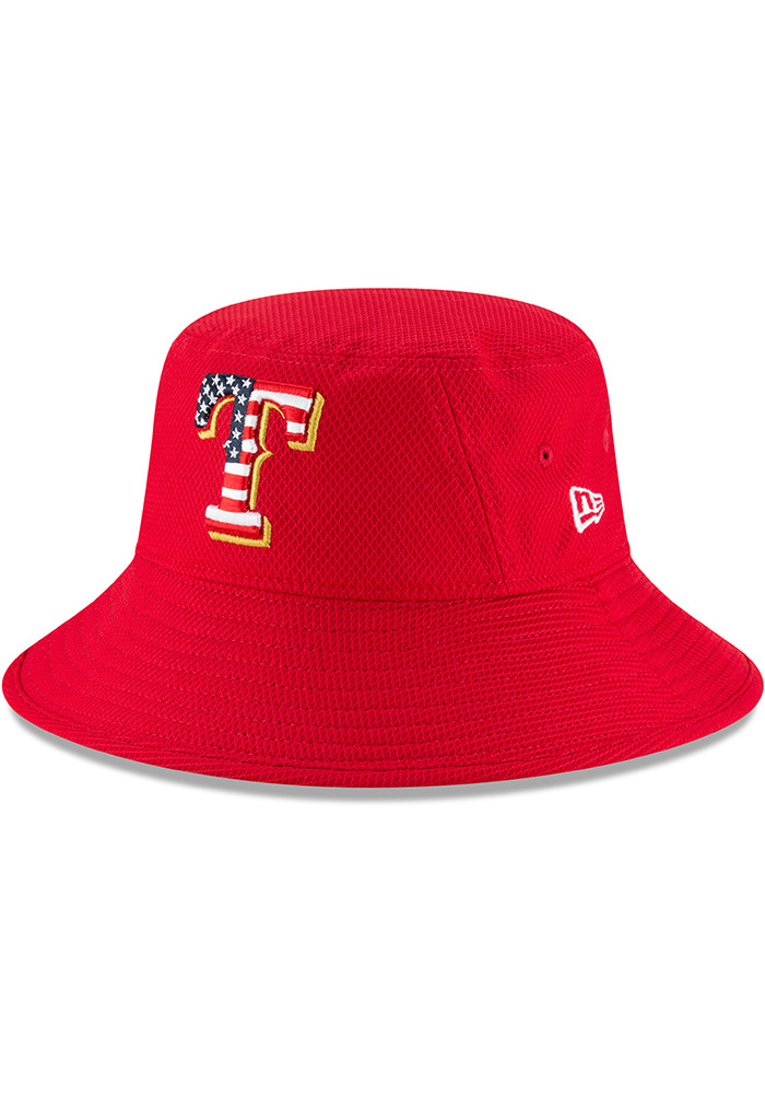 New Era Texas Rangers Red 2018 4th of July Mens Bucket Hat - Image 1