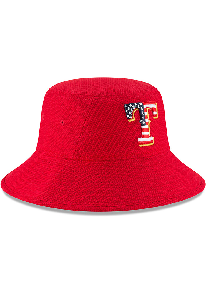 New Era Texas Rangers Red 2018 4th of July Mens Bucket Hat - Image 2
