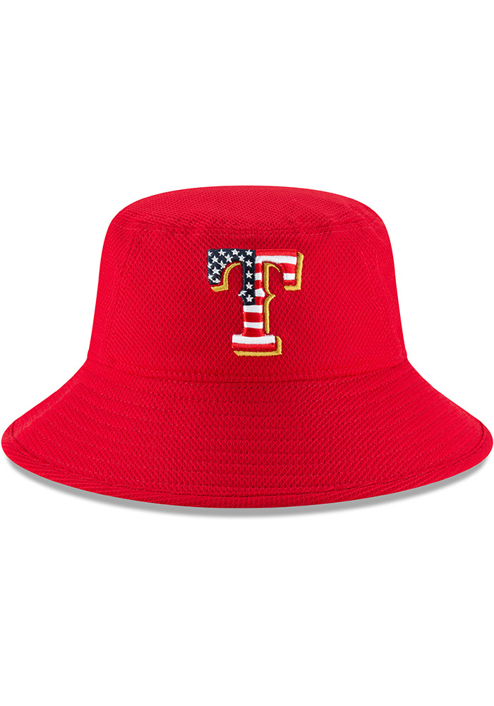 New Era Texas Rangers Red 2018 4th of July Mens Bucket Hat - Image 3