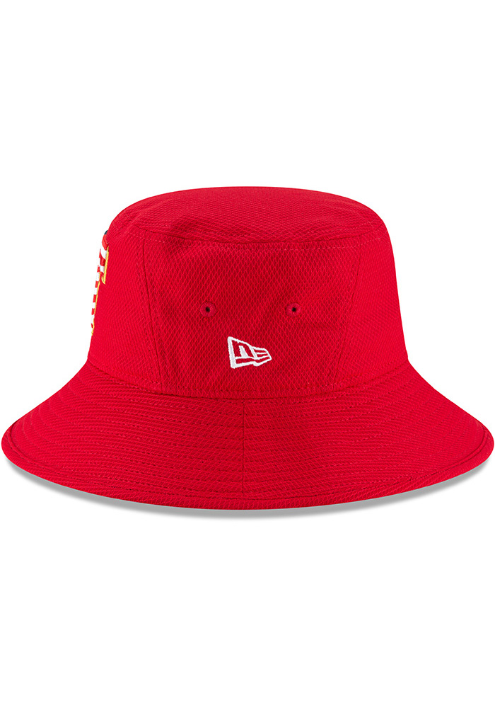 New Era Texas Rangers Red 2018 4th of July Mens Bucket Hat - Image 4