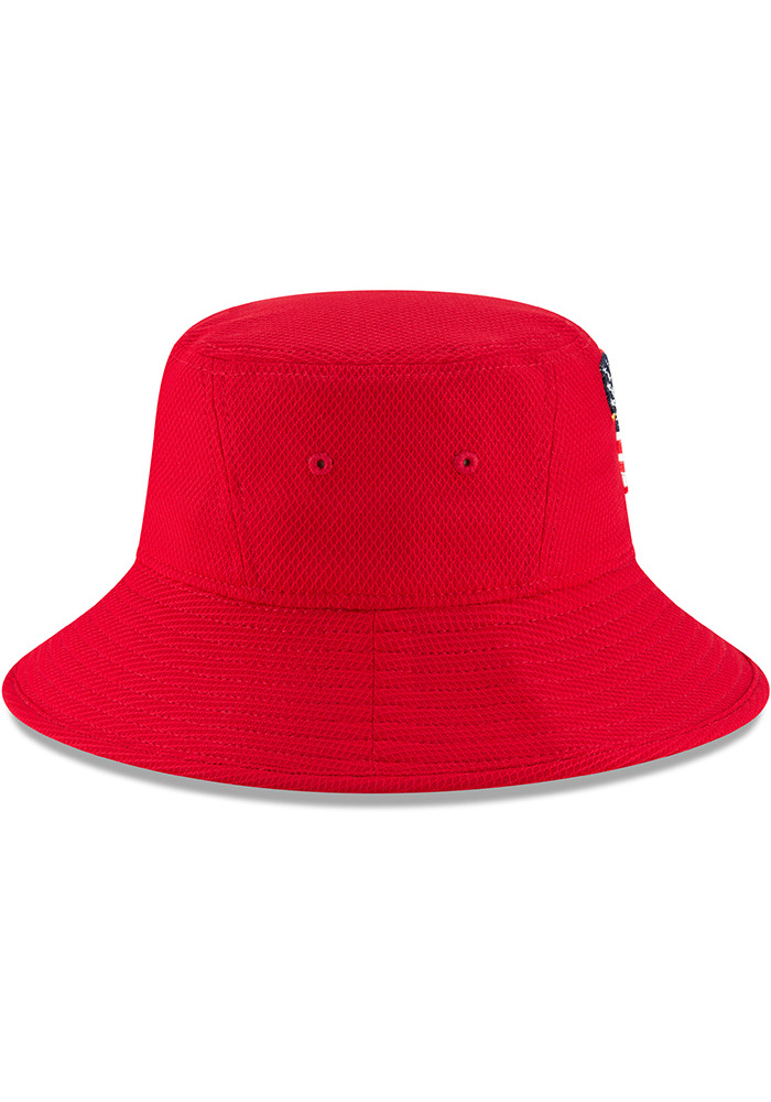 New Era Texas Rangers Red 2018 4th of July Mens Bucket Hat - Image 6