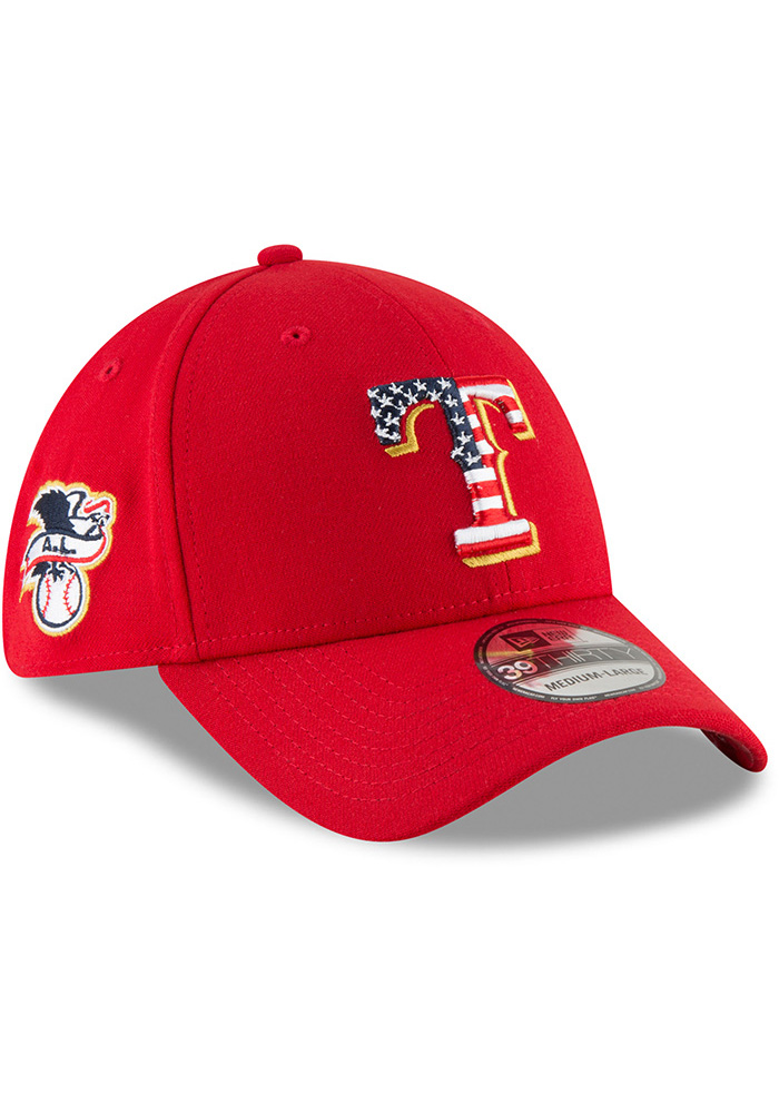 New Era Texas Rangers Mens Red 2018 4th of July 39THRITY Flex Hat - Image 2