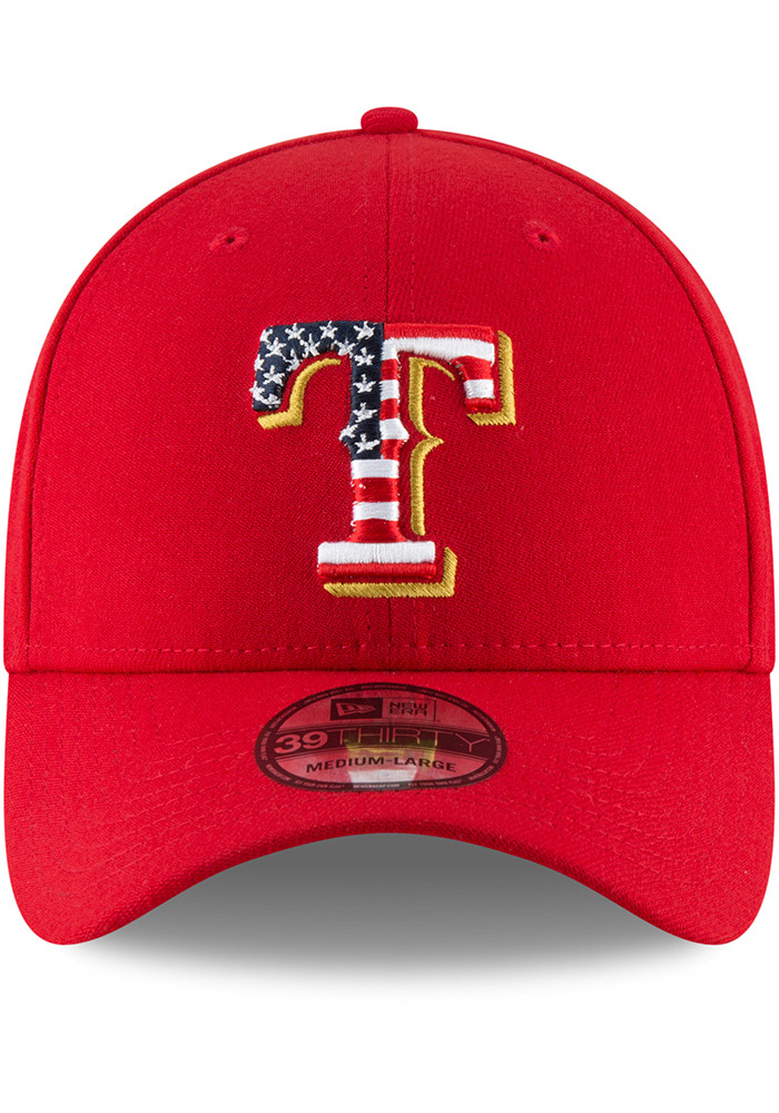 New Era Texas Rangers Mens Red 2018 4th of July 39THRITY Flex Hat - Image 3