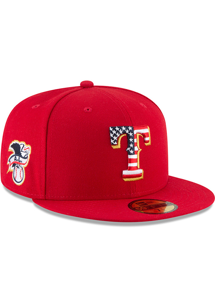 New Era Texas Rangers Mens Red 2018 4th of July 59FIFTY Fitted Hat - Image 2