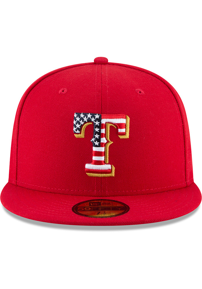 New Era Texas Rangers Mens Red 2018 4th of July 59FIFTY Fitted Hat - Image 3