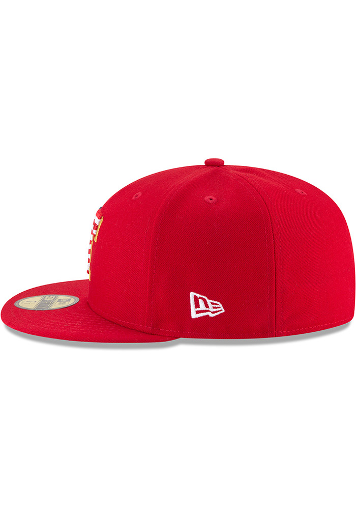 New Era Texas Rangers Mens Red 2018 4th of July 59FIFTY Fitted Hat - Image 4
