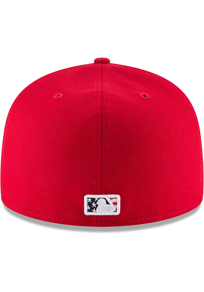 New Era Texas Rangers Mens Red 2018 4th of July 59FIFTY Fitted Hat - Image 5