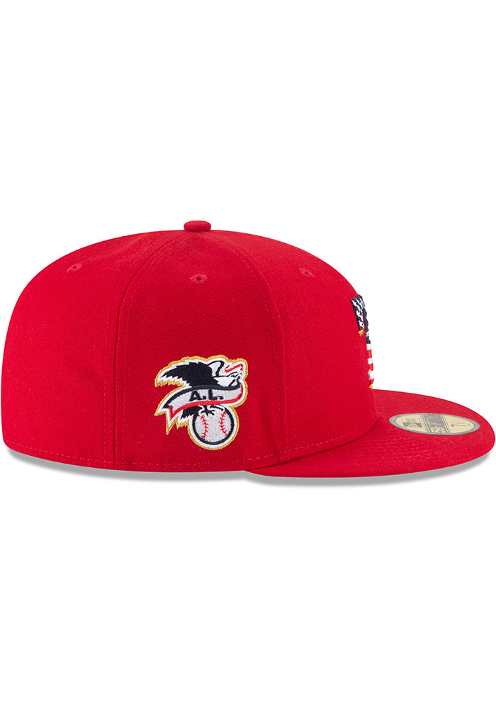 New Era Texas Rangers Mens Red 2018 4th of July 59FIFTY Fitted Hat - Image 6