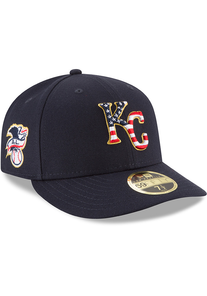 New Era Kansas City Royals Mens Navy Blue 2018 4th of July LP59FIFTY Fitted Hat - Image 2