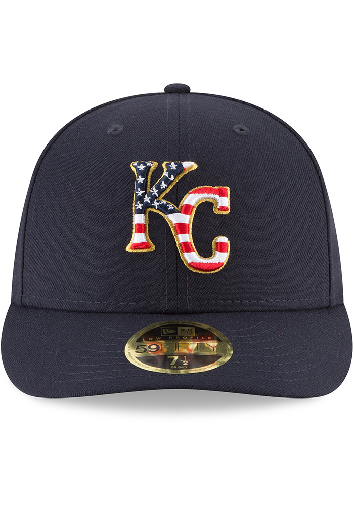 New Era Kansas City Royals Mens Navy Blue 2018 4th of July LP59FIFTY Fitted Hat - Image 3