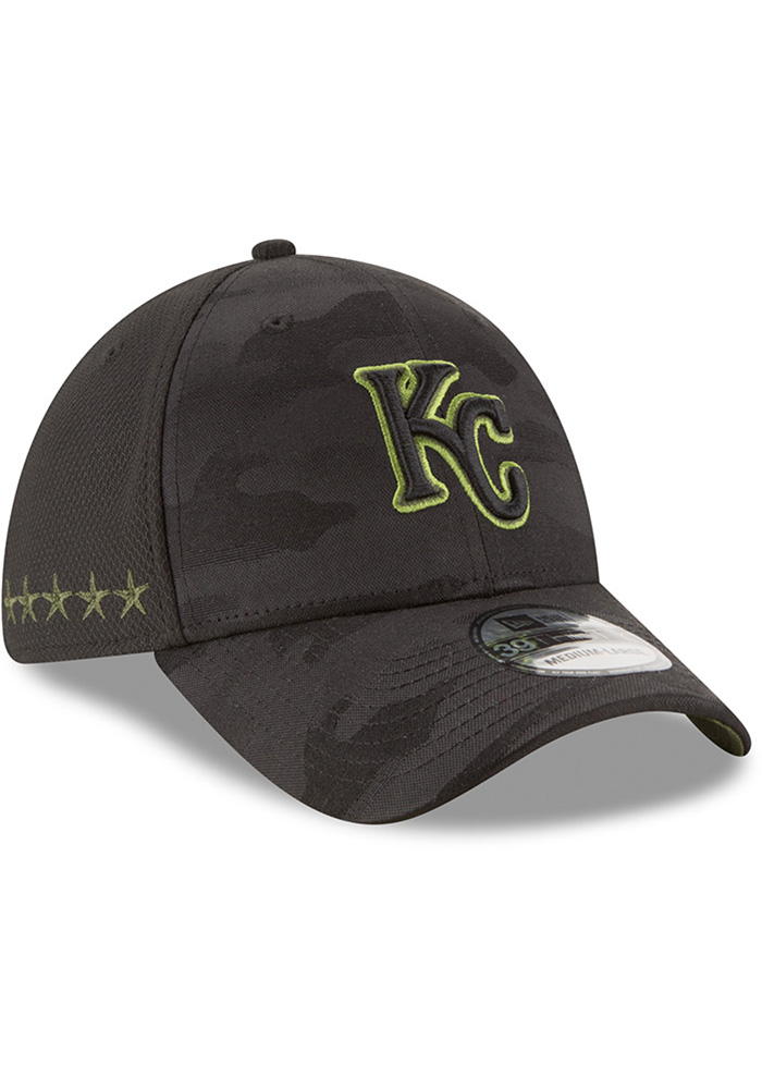 New Era Kansas City Royals Mens Black 2018 Memorial Day 39THRITY Flex Hat - Image 2